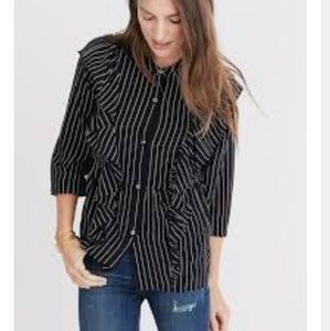 Madewell Silk ruffled front Striped Blouse